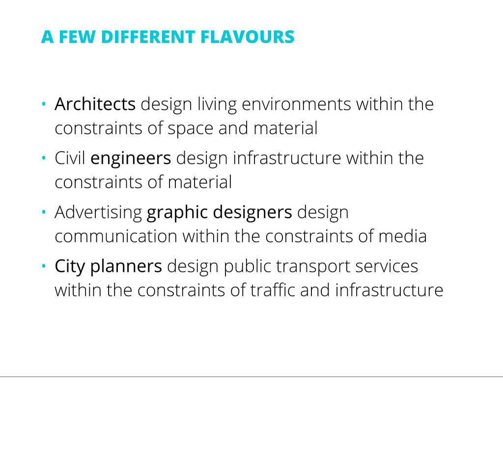 • Architects design living environments within ...