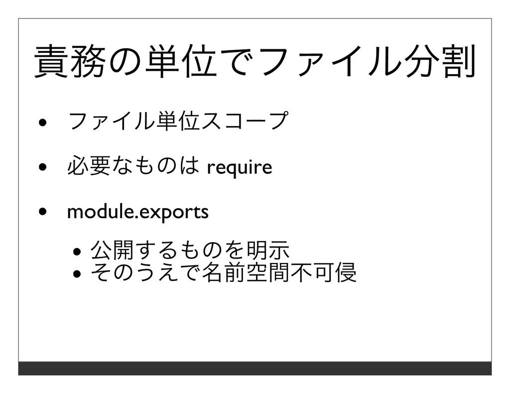 責務の単位でファイル分割 ファイル単位スコープ 必要なものは require module.e...