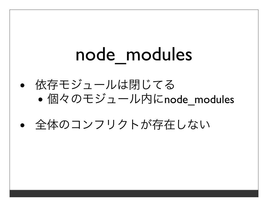 node_modules 依存モジュールは閉じてる 個々のモジュール内にnode_module...