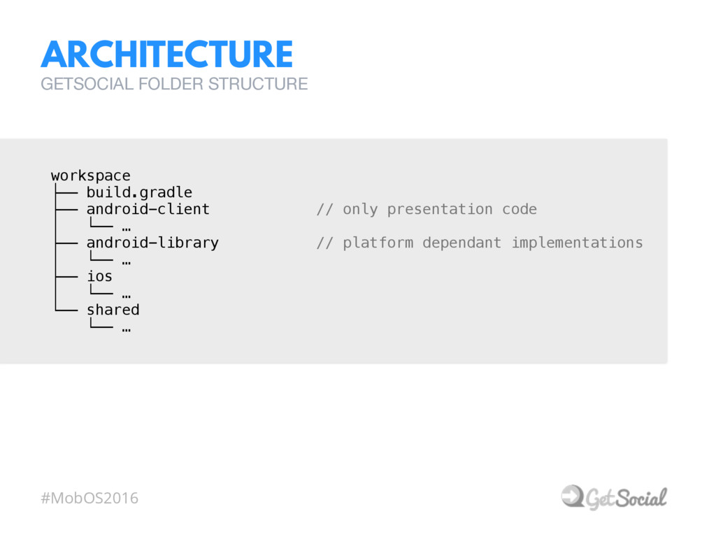 #MobOS2016 ARCHITECTURE GETSOCIAL FOLDER STRUCT...