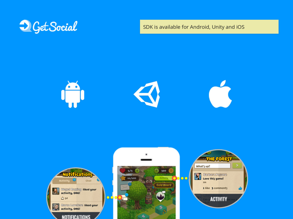 SDK is available for Android, Unity and iOS
