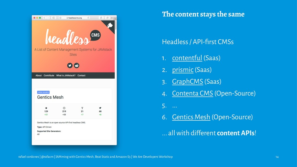 The content stays the same Headless / API-first ...