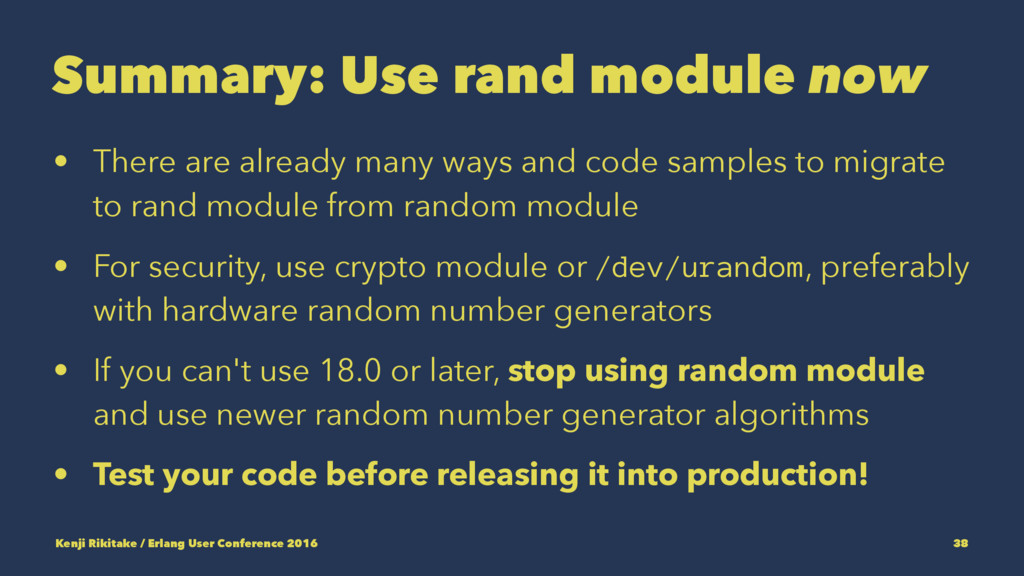 Summary: Use rand module now • There are alread...