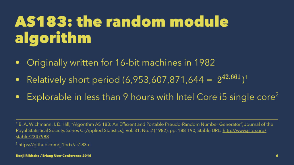 AS183: the random module algorithm • Originally...