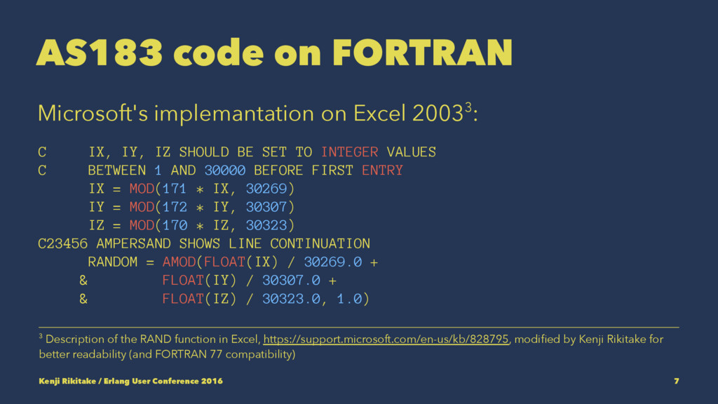 AS183 code on FORTRAN Microsoft's implemantatio...