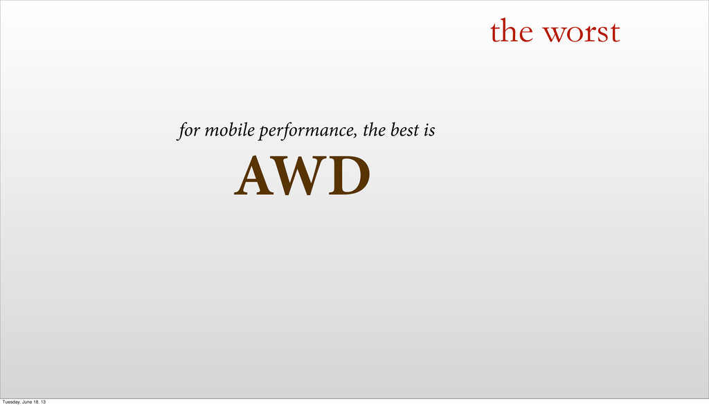 AWD the worst for mobile performance, the best ...