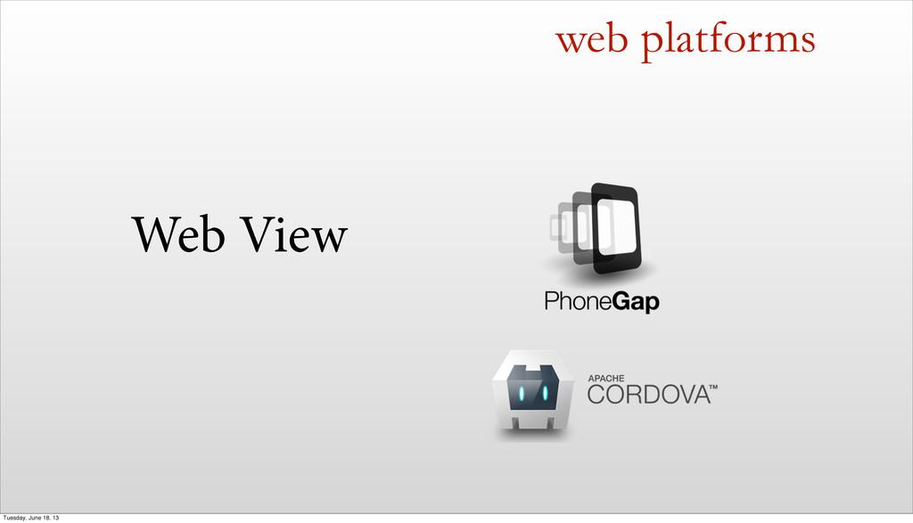 Web View web platforms Tuesday, June 18, 13
