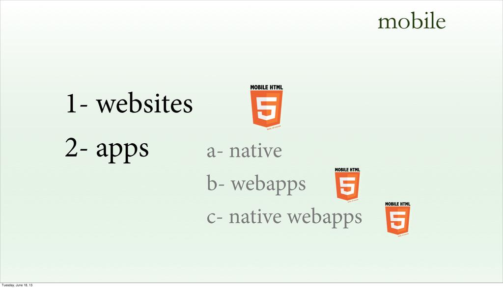 a- native b- webapps c- native webapps mobile 1...
