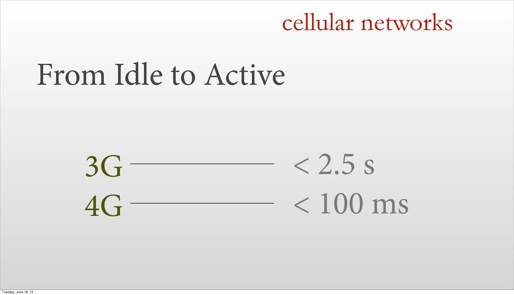 From Idle to Active cellular networks 3G < 2.5 ...