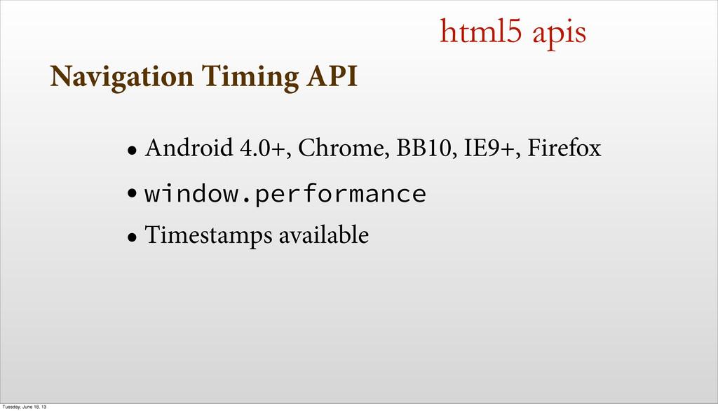Navigation Timing API • Android 4.0+, Chrome, B...