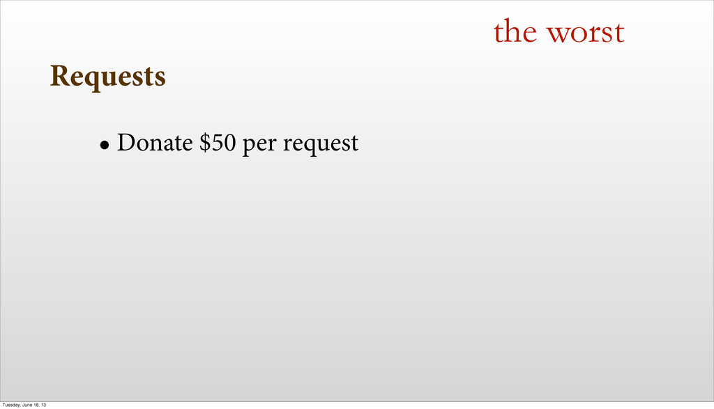 Requests • Donate $50 per request the worst Tue...