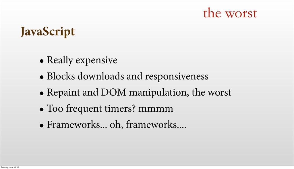 JavaScript • Really expensive • Blocks download...