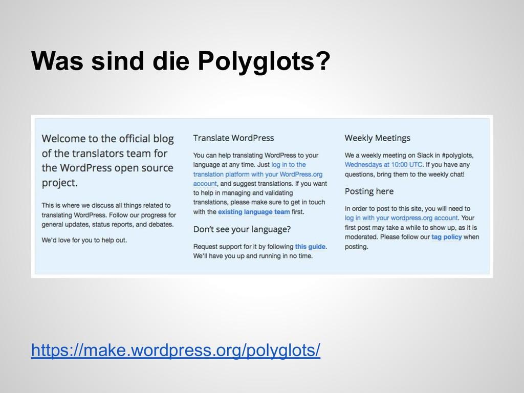 https://make.wordpress.org/polyglots/ Was sind ...