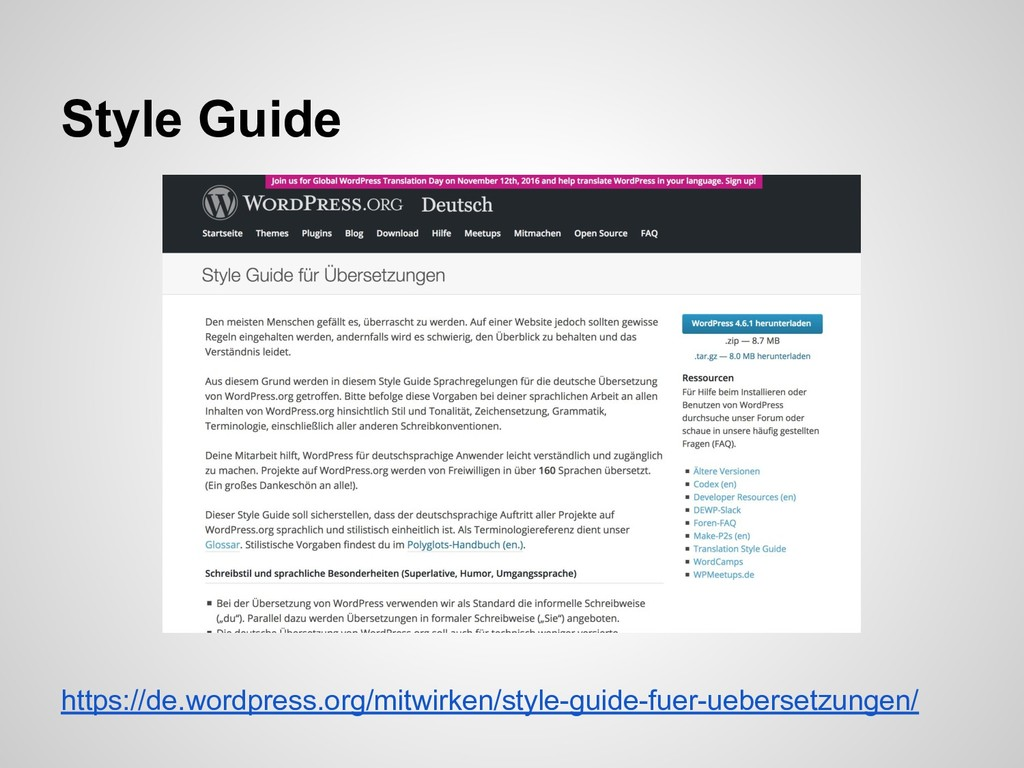https://de.wordpress.org/mitwirken/style-guide-...