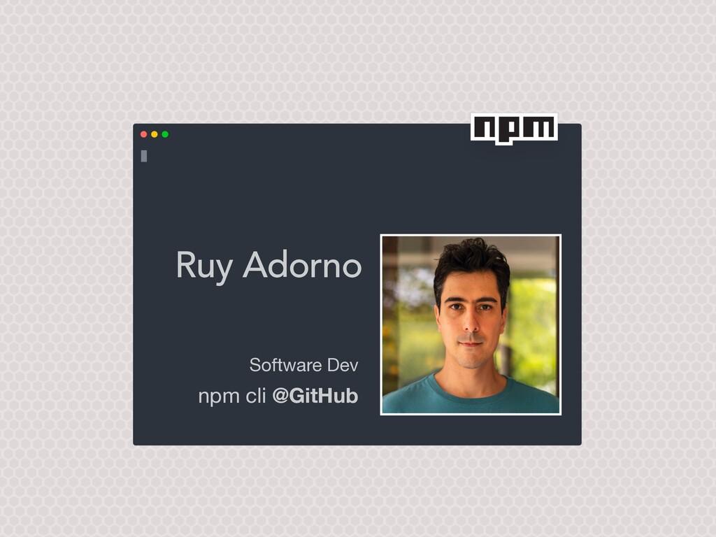 Ruy Adorno Software Dev  npm cli @GitHub