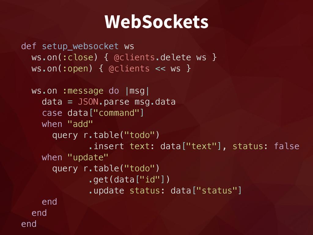 WebSockets def setup_websocket ws ws.on(:close)...