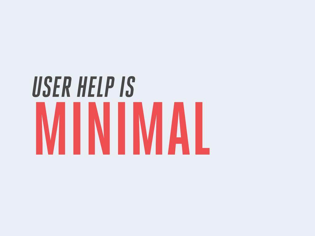 USER HELP IS MINIMAL