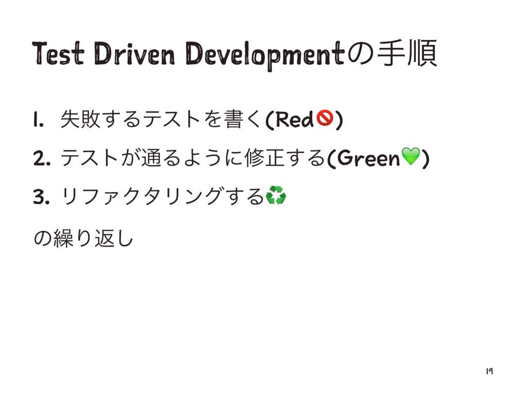 Test Driven Developmentͷखॱ 1. ࣦഊ͢ΔςετΛॻ͘(Red!) ...