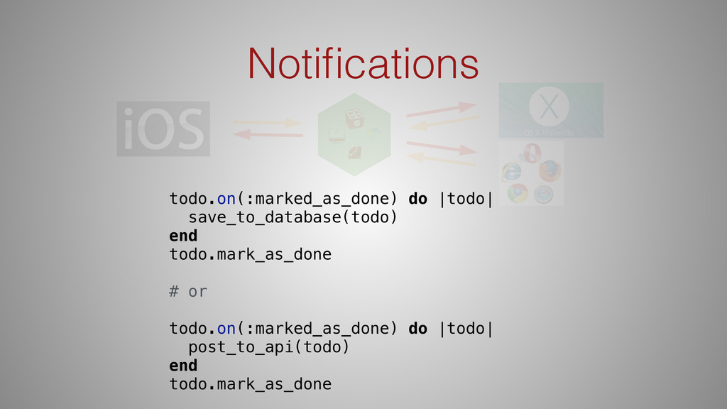 Notifications todo.on(:marked_as_done) do |todo|...