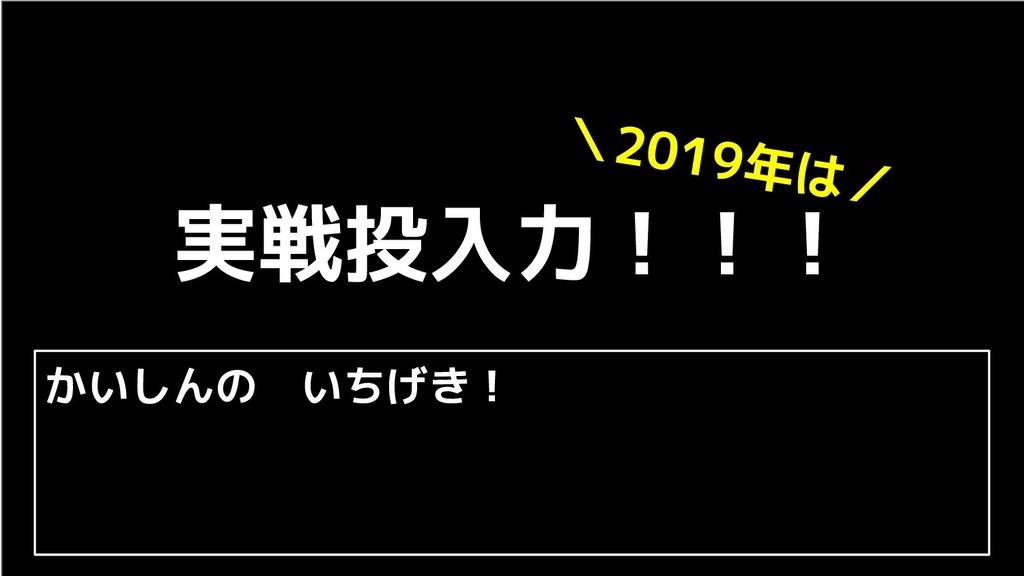 実戦投入力!!! \2019年は/ かいしんの いちげき!