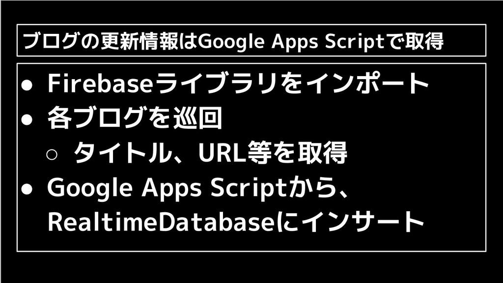 ブログの更新情報はGoogle Apps Scriptで取得 ● Firebaseライブラリを...