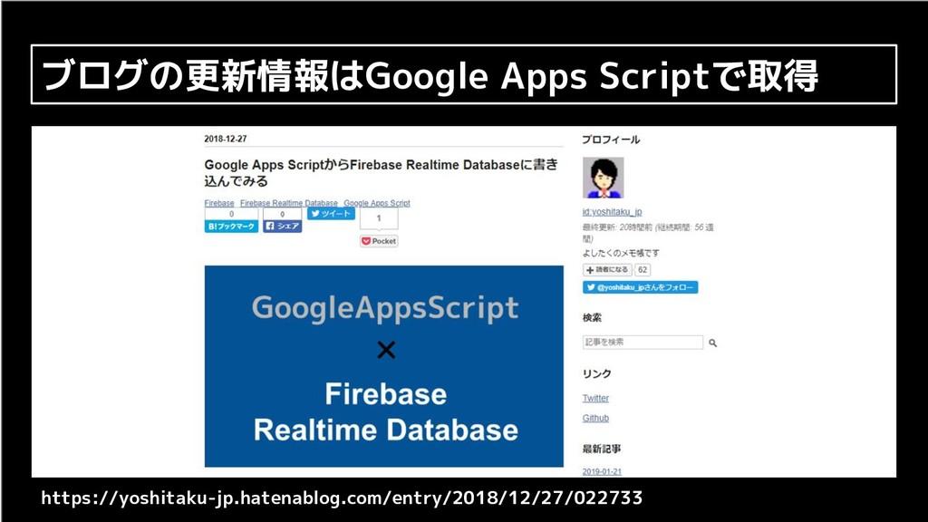 ブログの更新情報はGoogle Apps Scriptで取得 https://yoshitak...