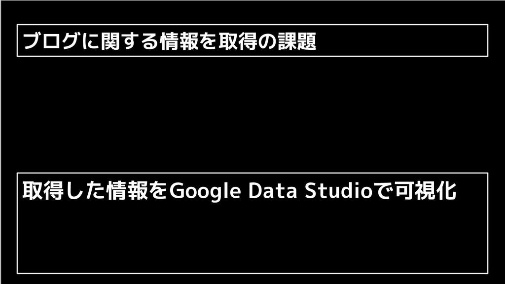 ブログに関する情報を取得の課題 取得した情報をGoogle Data Studioで可視化