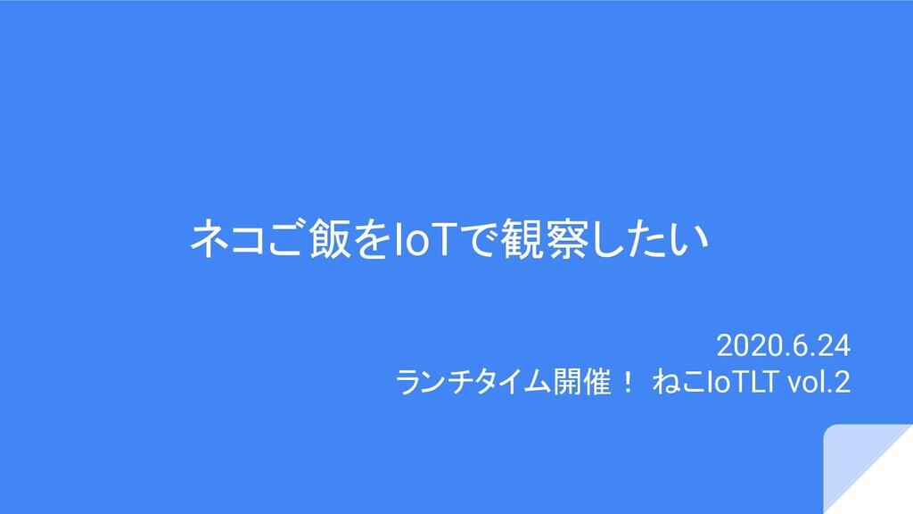 ネコご飯をIoTで観察したい 2020.6.24 ランチタイム開催! ねこIoTLT vol.2