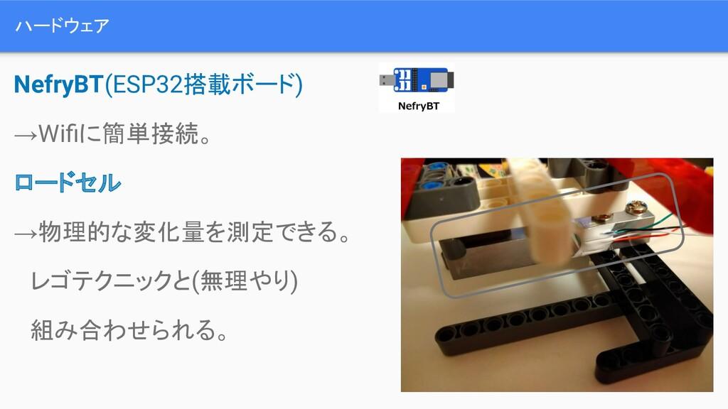 ハードウェア NefryBT(ESP32搭載ボード) →Wifiに簡単接続。 ロードセル →物理...