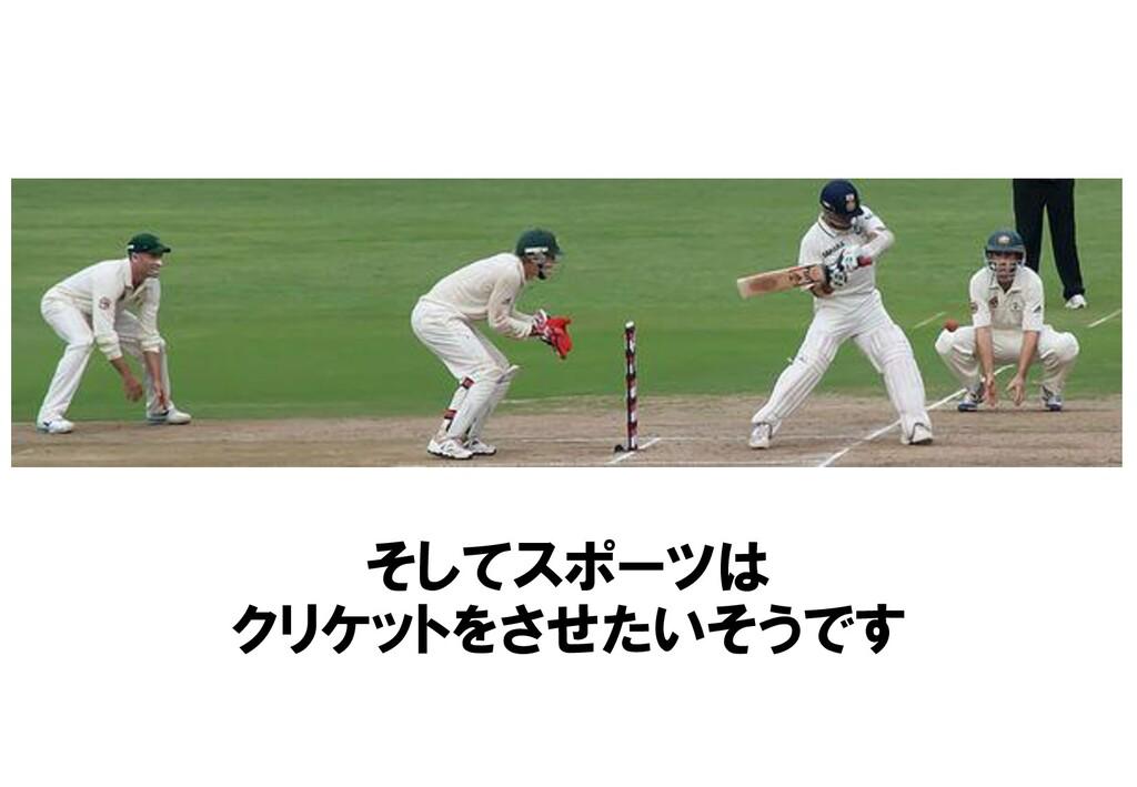 そしてスポーツは クリケットをさせたいそうです