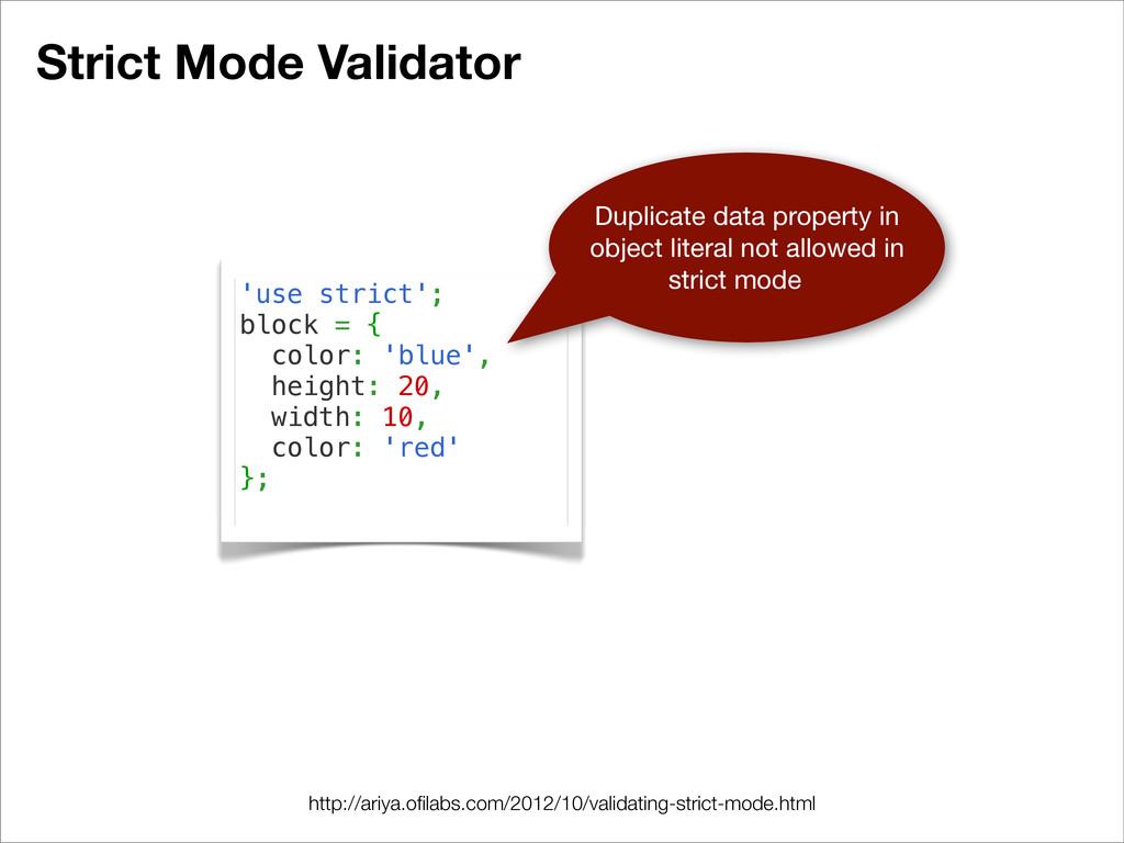 Strict Mode Validator 'use strict'; block = { c...