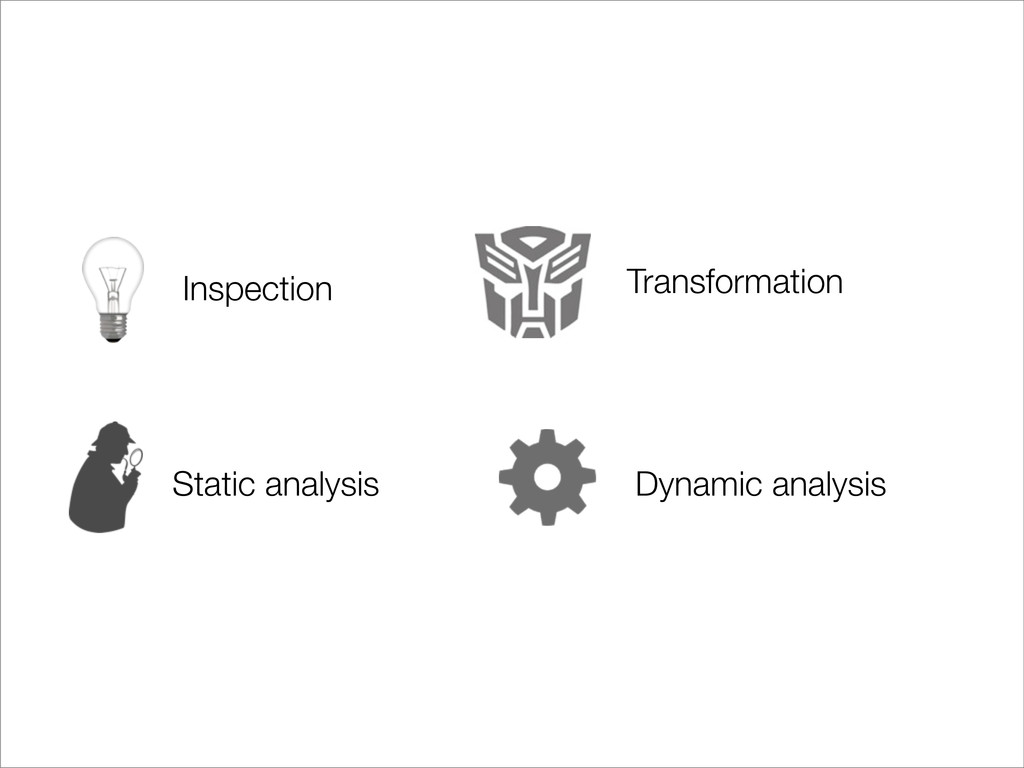 Static analysis Inspection Dynamic analysis Tra...