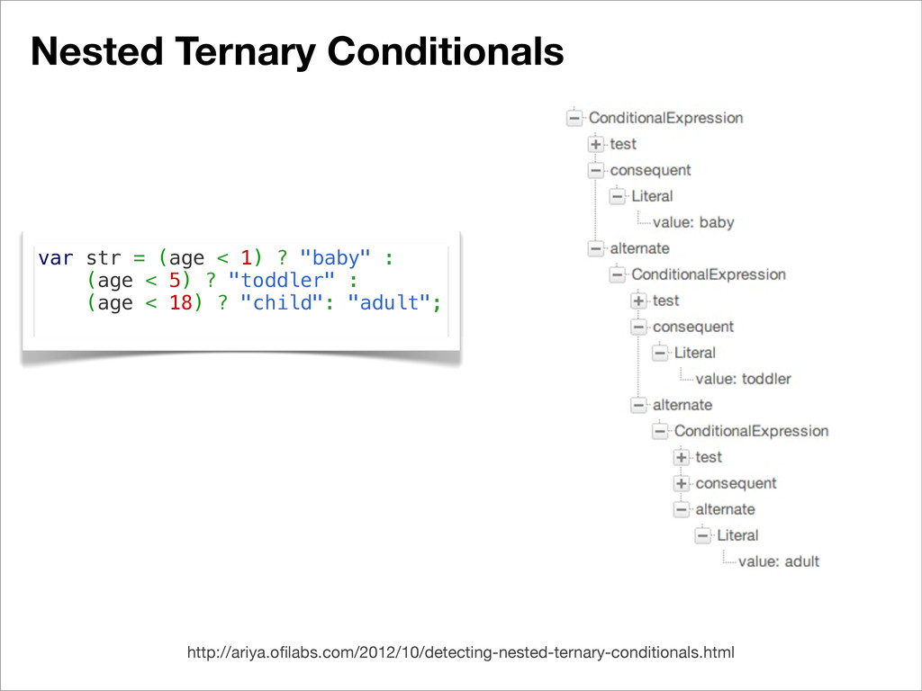 Nested Ternary Conditionals var str = (age < 1)...
