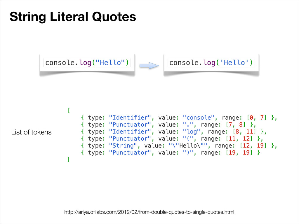 "String Literal Quotes [ { type: ""Identifier"", v..."