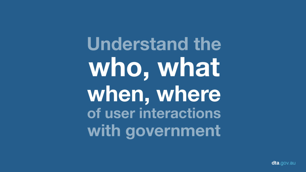 dta.gov.au Understand the who, what when, where...