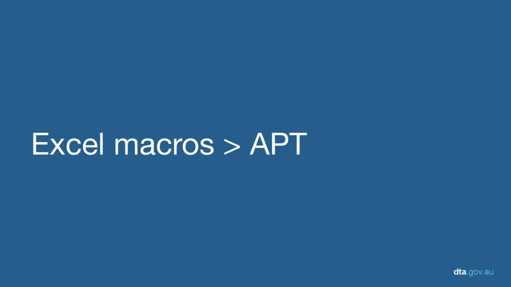 dta.gov.au Excel macros > APT