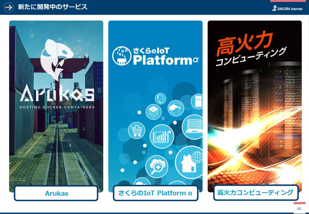 新たに開発中のサービス 10 Arukas さくらのIoT Platform α 高火力コンピ...