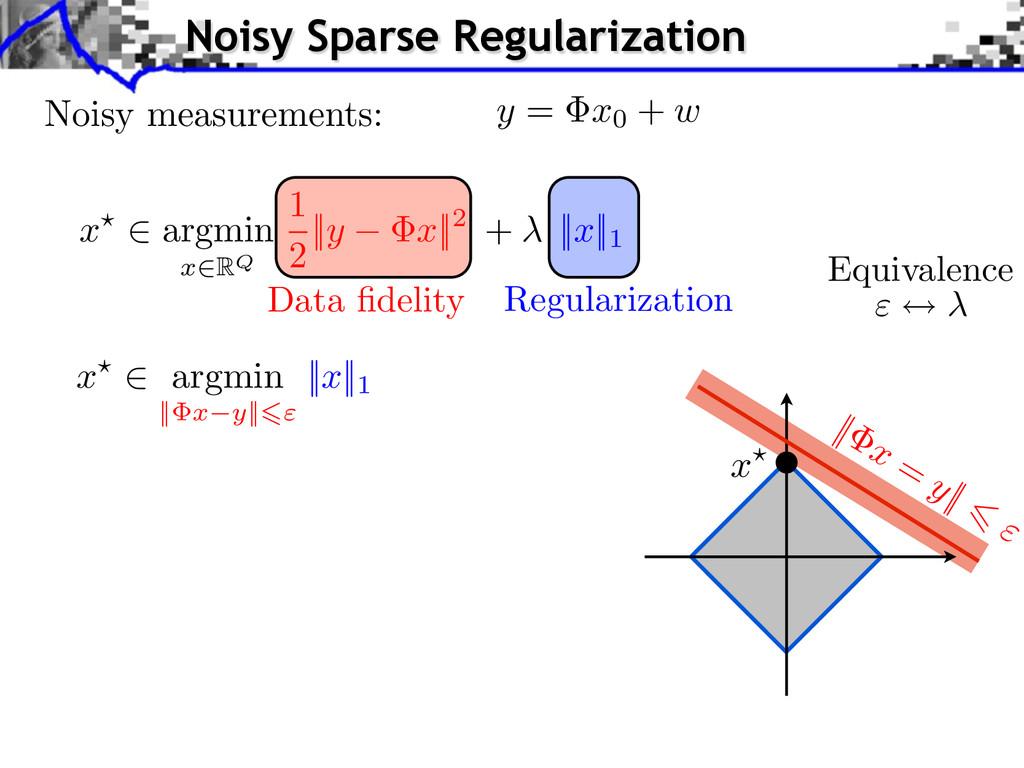 Regularization Data fidelity Equivalence || x = ...
