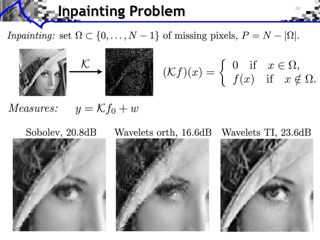 K y = Kf0 + w Measures: Inpainting Problem (Kf)...