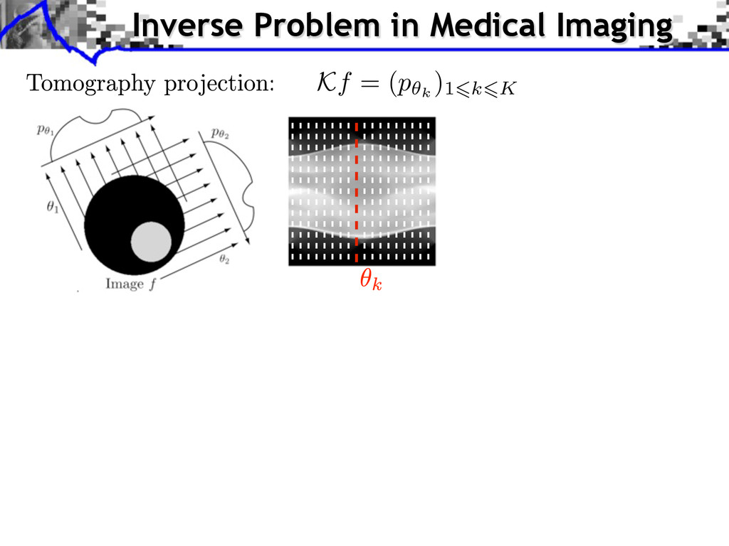Kf = (p k ) 1 k K Inverse Problem in Medical Im...