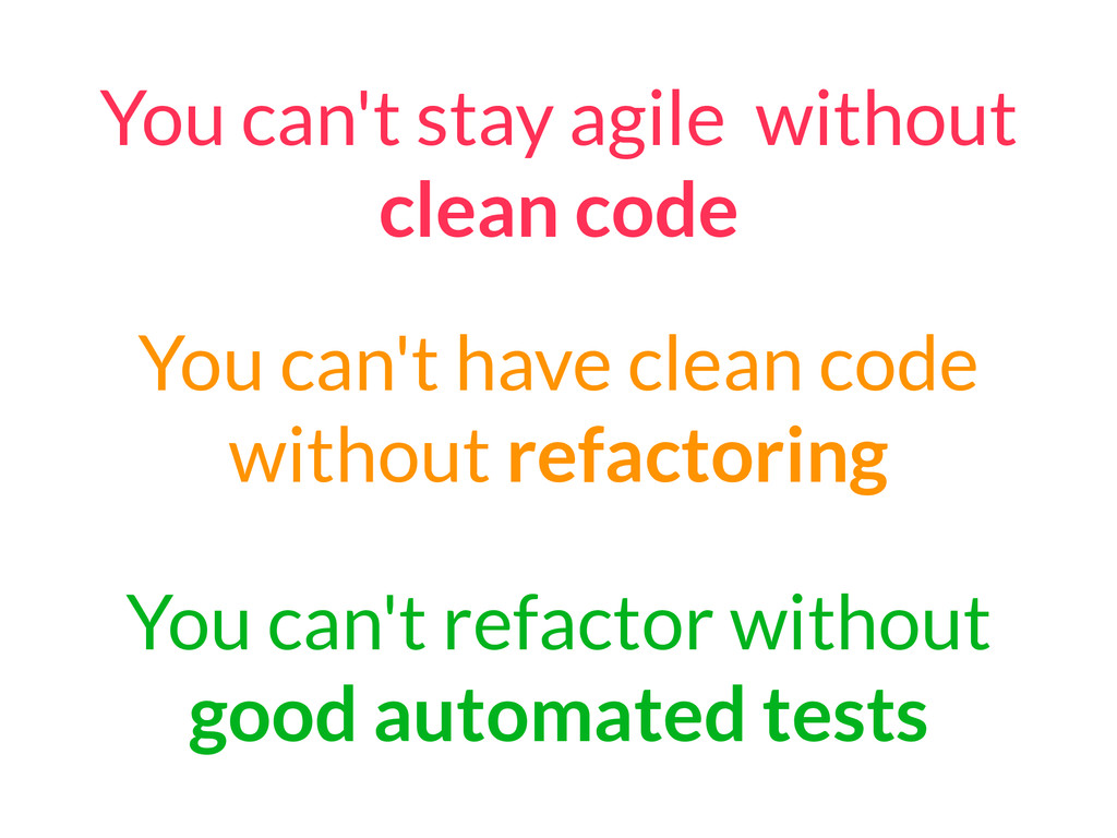 You can't have clean code without refactoring Y...
