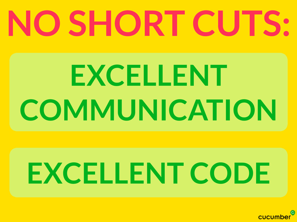 NO SHORT CUTS: EXCELLENT COMMUNICATION EXCELLEN...