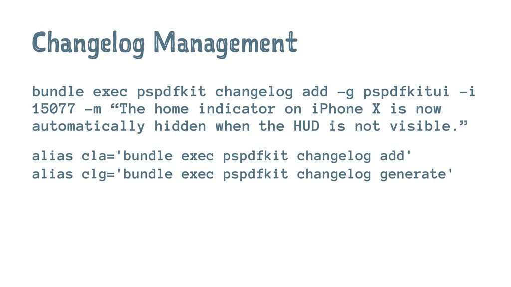 Changelog Management bundle exec pspdfkit chang...
