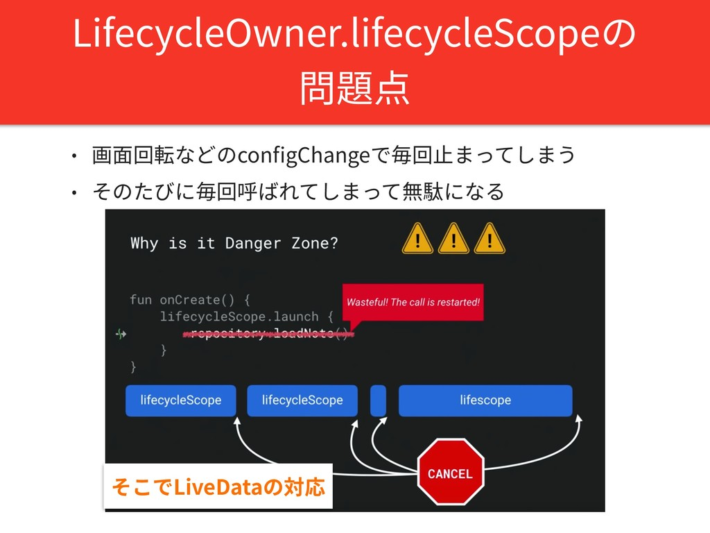 LifecycleOwner.lifecycleScopeの 問題点 • 画⾯回転などのcon...