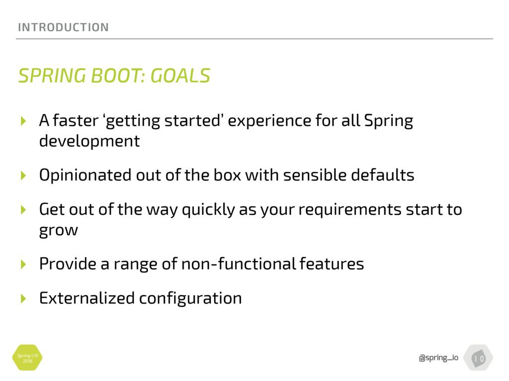 Spring I/O 2016 INTRODUCTION SPRING BOOT: GOALS...
