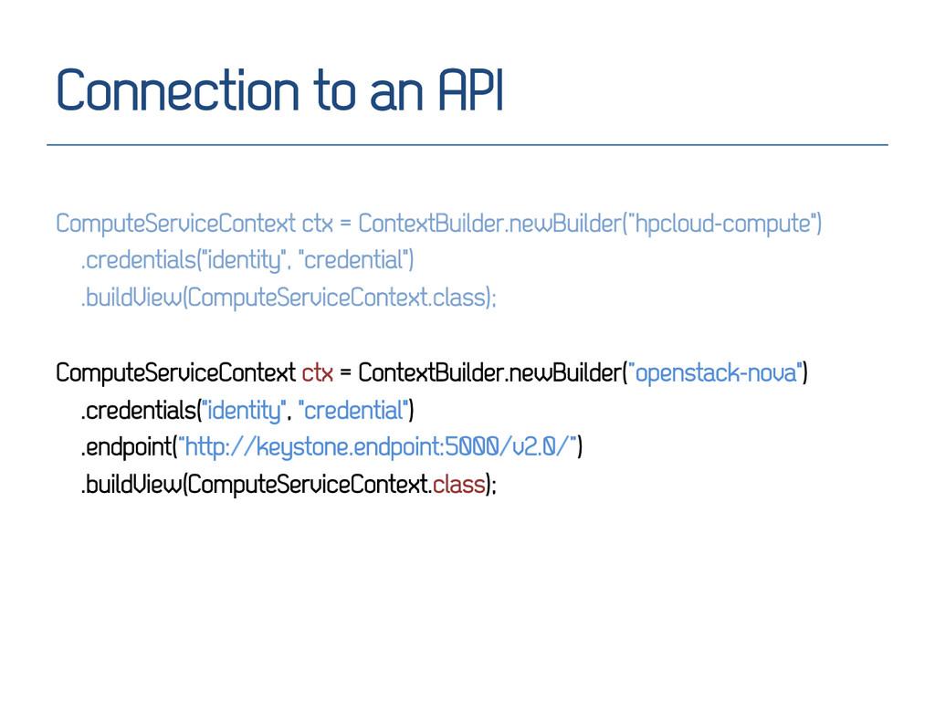 Connection to an API ComputeServiceContext ctx ...