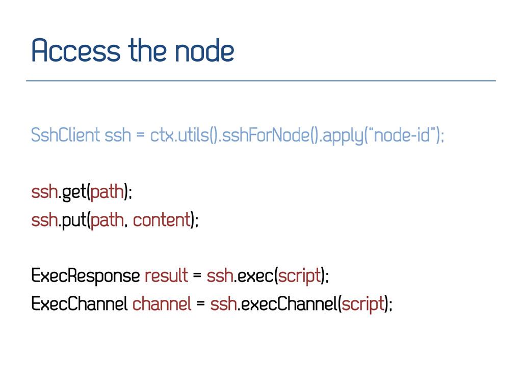 Access the node SshClient ssh = ctx.utils().ssh...