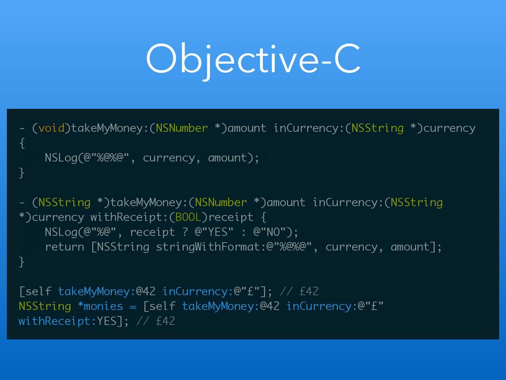 Objective-C - (void)takeMyMoney:(NSNumber *)amo...