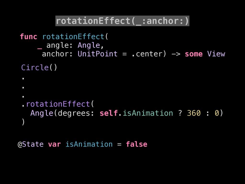 rotationEffect(_:anchor:) func rotationEffect( ...