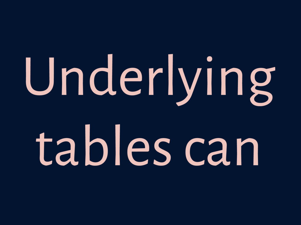 Underlying tables can